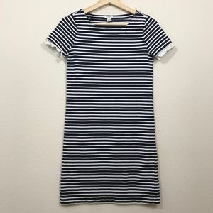 J Crew Striped T Shirt Dress with Ruffle Sleeve